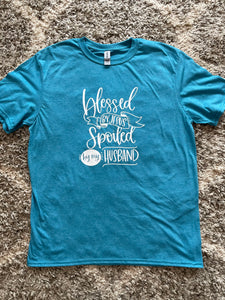 Teal Blue Blessed By Jesus Spoiled By My Husband T-shirt