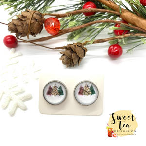 Plaid and Leopard Christmas Trees Stud Earrings