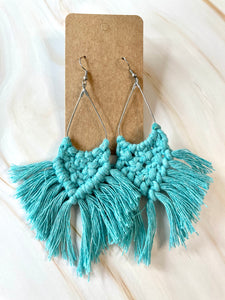Teal Macrame Earrings