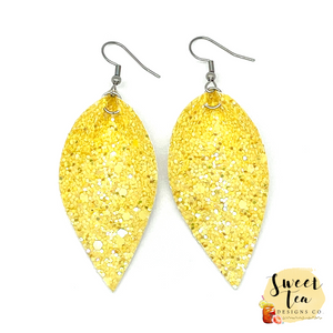 Solid Yellow Glitter Petal Earrings