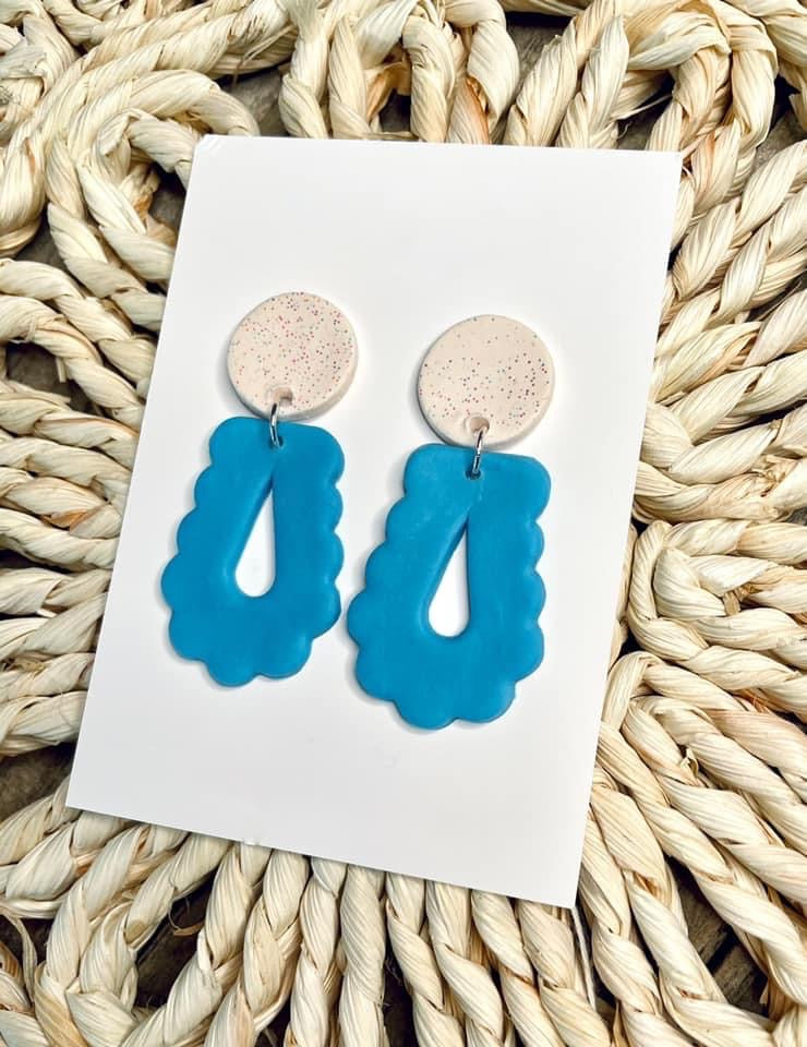 Scalloped Clay Dangle Earrings