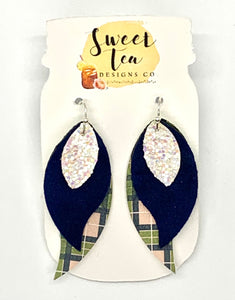 Navy, Green, and White Plaid Triple Layer Earrings