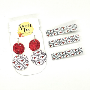Love Letters Earrings With Matching Hair Clip