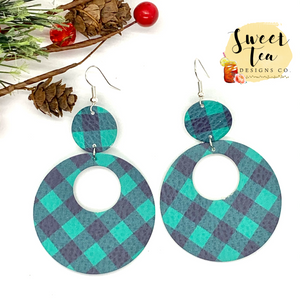 Green Plaid Double Circle Cutout Earrings