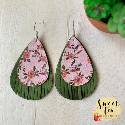 Green Fringe Suede w/Pink Floral Earrings