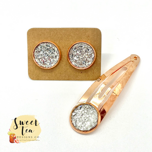 Diamond(ish) Druzy Earrings and Hairpin in Rose Gold