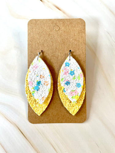Spring Flowers w/Yellow Glitter Dangle Earrings