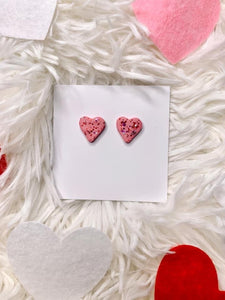 Pink w/Red Glitter Hearts Stud Clay Earrings