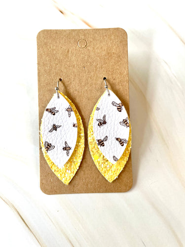 Yellow Glitter Bee Dangle Earrings