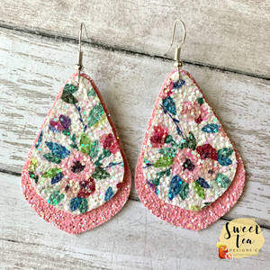 Pink Floral Glitter Layered Earrings