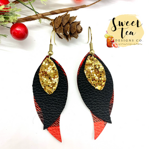 Red Plaid w/Black and Gold Triple Layer Earrings