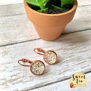 White Glitter on Rose Gold Lever Back Earrings