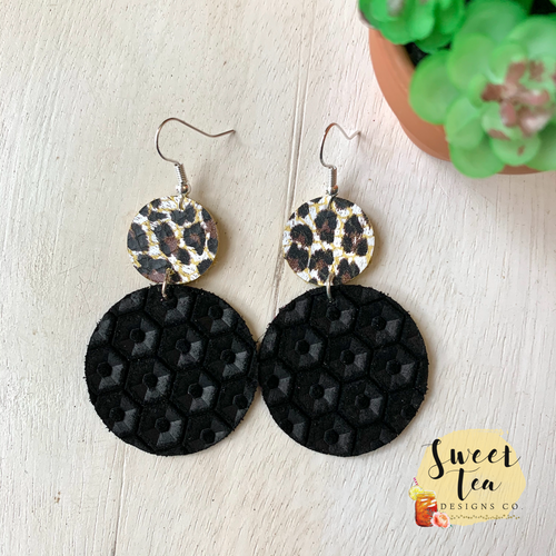 Genuine Leather Leopard w/Black Circle Earrings