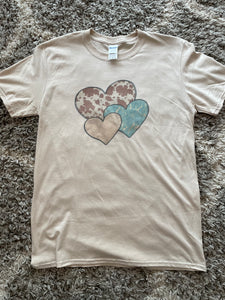 Sand Turquoise and Cow Hearts T-shirt