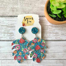 Load image into Gallery viewer, Teal Floral Palm Leaf w/Druzy Stud Earrings