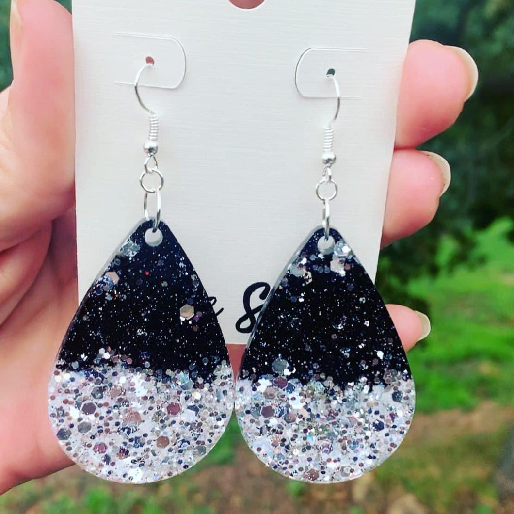 Preorder Black and Silver Glitter Resin Earrings