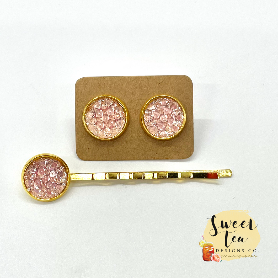 Peach Druzy Studs and Hairpin Set in Gold-tone