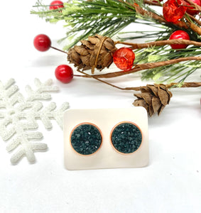 Dark Green Druzy Studs in Rose Gold