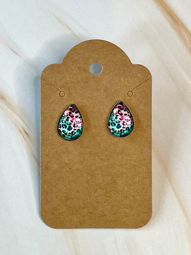 Pink and Teal Teardrop Stud Earrings
