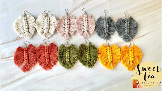 Macrame Feather Shaped Earrings