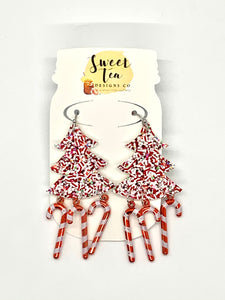 Red and White Glitter w/Candy Canes Earrings