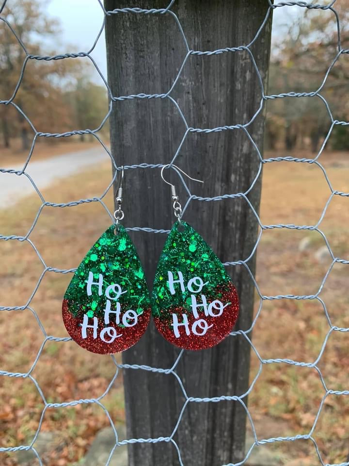 Preorder Ho Ho Ho Resin Earrings