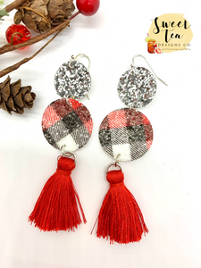 Silver and Plaid Circle with Tassels Earrings