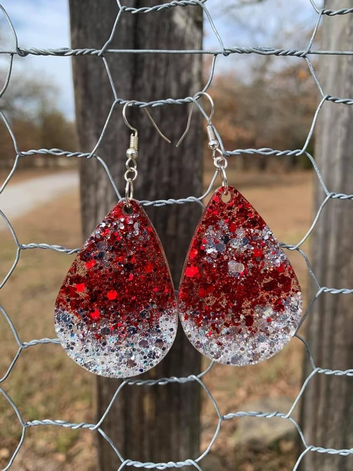 Preorder Red and Silver Glitter Resin Earrings