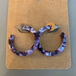 Purple Acrylic Hoop Earrings