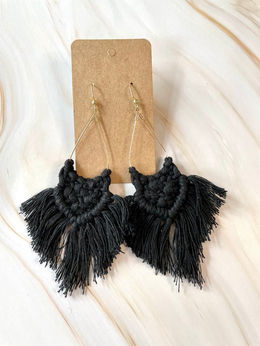 Black Macrame Triangle Earrings