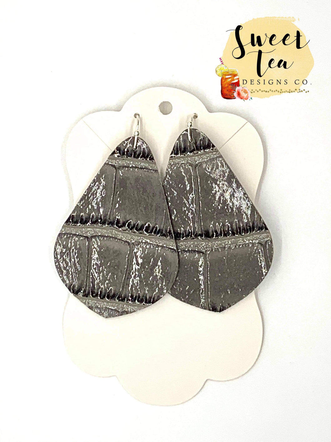 Glossy Grey Textured Bell Earrings