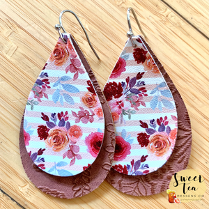 Floral and Brown Embossed Teardrop Earrings