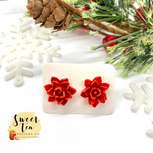 Red Poinsettia Flower Studs