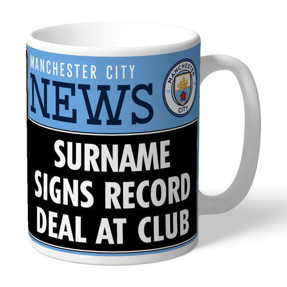 Manchester City FC Record Deal Headline Mug