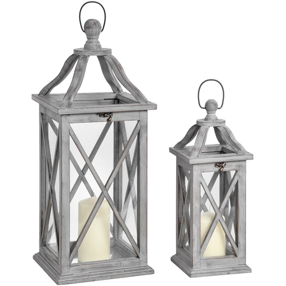Set Of Two Grey Gross Section Lanterns With Open Tops