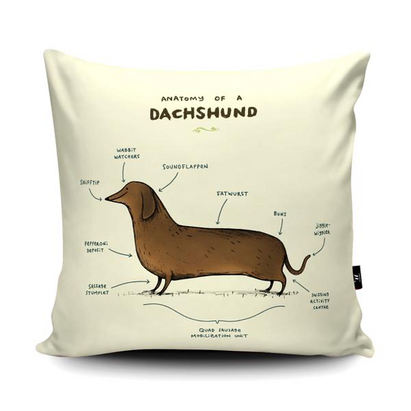 ANATOMY OF A DACHSHUND CUSHION - WRAPTIOUS - SOPHIE CORRIGAN-Poppy Stop-Poppy Stop
