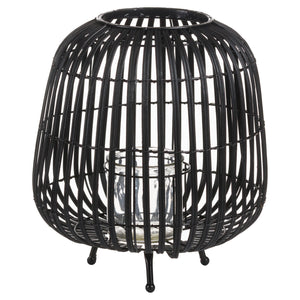 Large Black Rattan Bulbous Lantern