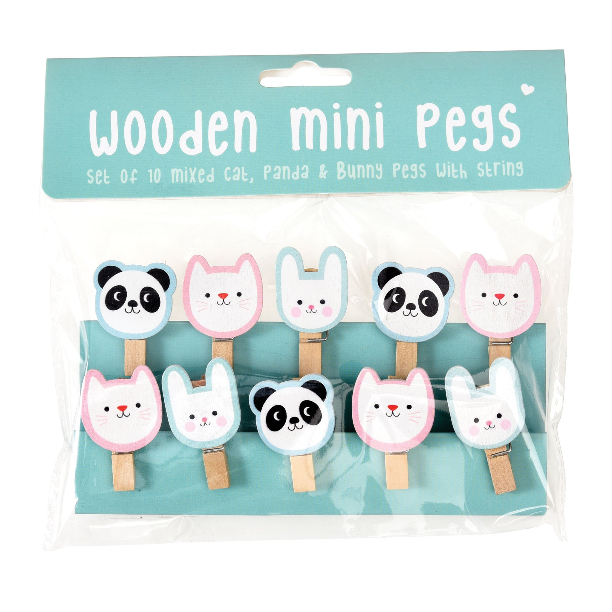 Miko And Friends Wooden Pegs String Of 10 Poppy Stop
