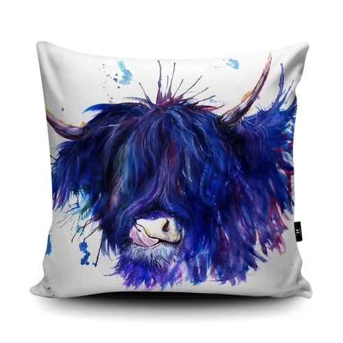 Splatter Highland Cow Cushion | Katherine Williams | Wraptious-Poppy Stop-Poppy Stop