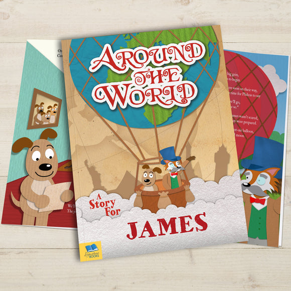 Around the World Personalised Book-Poppy Stop-Around the World - Softback-Poppy Stop