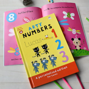 Personalised Arty Mouse Numbers Activity Book-Poppy Stop-Arty Mouse Numbers - Hardback-Poppy Stop