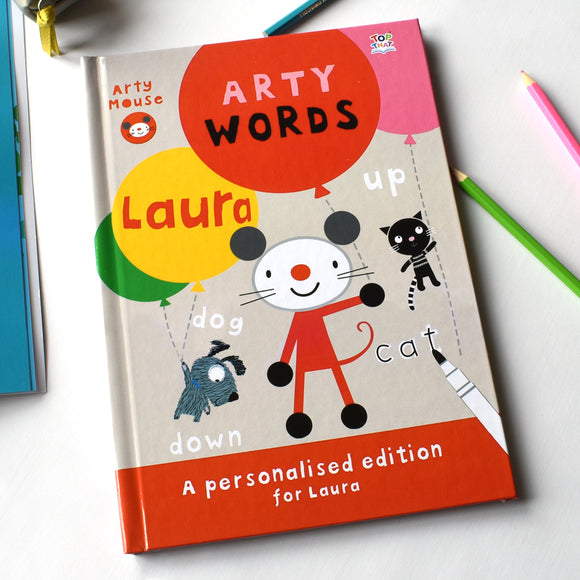 Personalised Arty Mouse Learning Words Activity Book-Poppy Stop-Arty Mouse Words - Softback-Poppy Stop