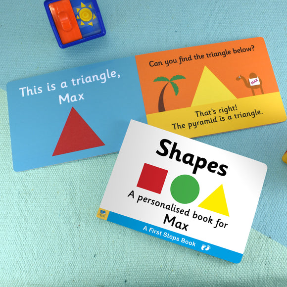 First Steps Shapes Personalised Board Book-Poppy Stop-Poppy Stop