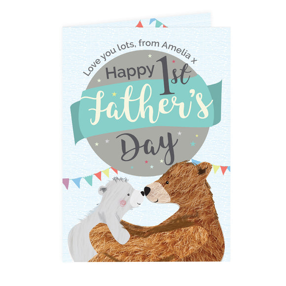 Personalised 1st Father's Day Daddy Bear Card-PMC-Poppy Stop