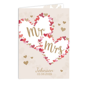 Personalised Mr & Mrs Confetti Hearts Wedding Card-Poppy Stop-Poppy Stop