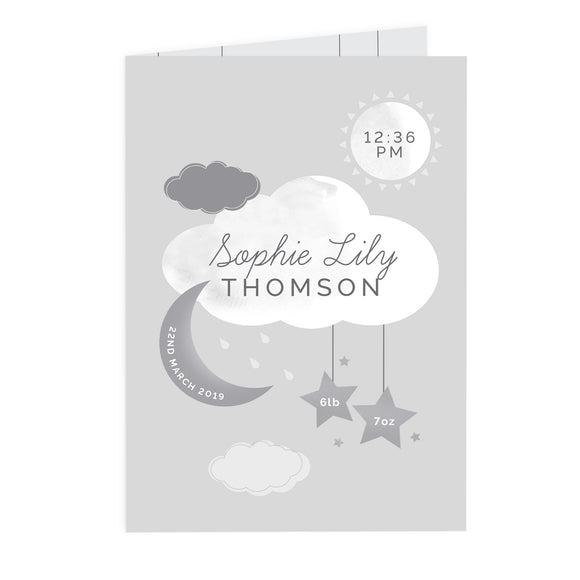 Personalised New Baby Moon & Stars Card Product Code: GC00645-Poppy Stop-Poppy Stop