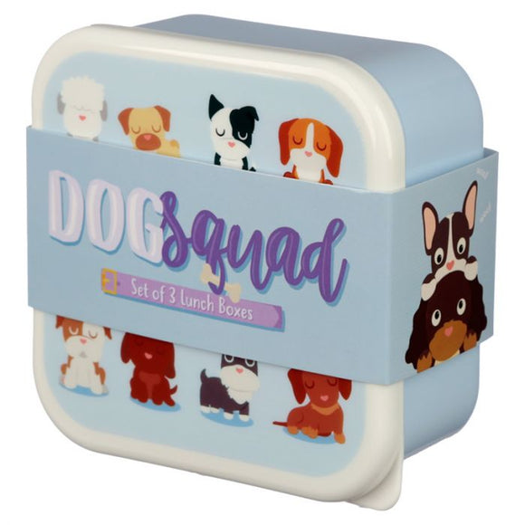 Set of 3 Lunch Boxes - Dog Squad