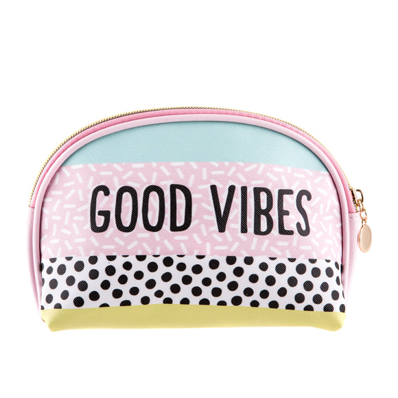 Memphis Modern Good Vibes Cosmetic Bag-Poppy Stop-Poppy Stop