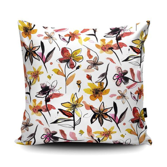 Beautiful Ink Flowers Yellow Cushion-Poppy Stop-Poppy Stop