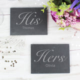 Personalised His and Hers Slate Coaster Set-Poppy Stop-Poppy Stop